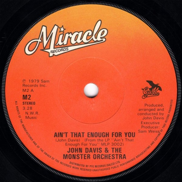 画像1: JOHN DAVIS & THE MONSTER ORCHESTRA - AIN'T THAT ENOUGH FOR YOU / DISCO FEVER  (1)