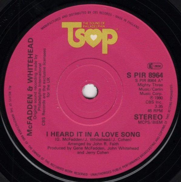 画像1: MCFADDEN & WHITEHEAD - I HEARD IT IN A LOVE SONG / ALWAYS ROOM FOR ONE MORE  (1)