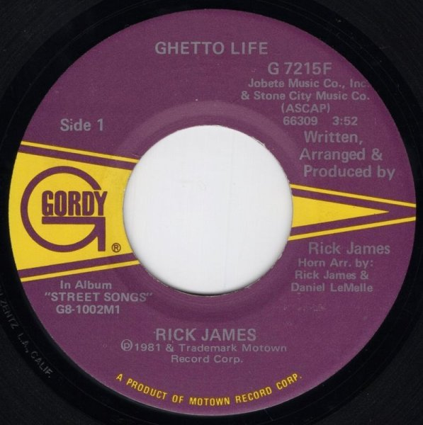 画像1: RICK JAMES - GHETTO LIFE / BELOW THE FUNK (PASS THE J)  (1)
